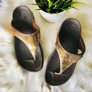 FITFLOP Gold Sequins Flip Flop Sandals 7 EUC